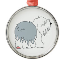 Bobtail Sheepdog Metal Ornament