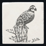 "Bobwhite Coaster<br><div class=""desc"">Northern bobwhite quail sits on a post on this classy stone coaster. Customize with with name,  course number or other text.</div>"