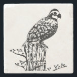 """Bobwhite Coaster<br><div class=""""desc"""">Northern bobwhite quail sits on a post on this classy stone coaster. Customize with with name,  course number or other text.</div>"""