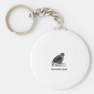 Bobwhite Quail Line Art Basic Round Button Keychain