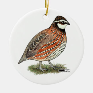 Bobwhite Quail Rooster Ceramic Ornament