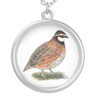 Bobwhite Quail Rooster Silver Plated Necklace