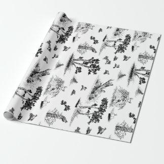 Bobwhite Quail Toile De Jouy Black and White Wrapping Paper