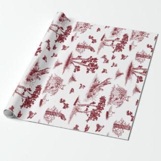 Bobwhite Quail Toile De Jouy Cranberry and White Wrapping Paper