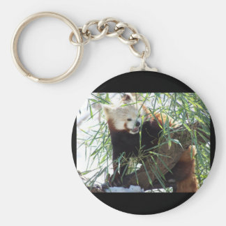 Boca abierta de la panda roja llavero redondo tipo pin