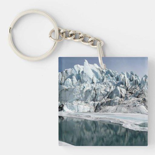 Boca Alaska del glaciar de Matanuska Llavero Cuadrado Acrílico A Doble Cara