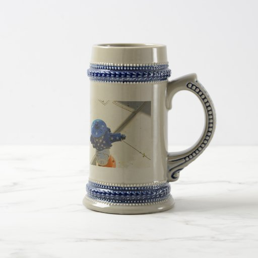 Boca de incendios patriótica blanca y azul roja jarra de cerveza