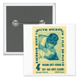boca del CPR del kitsch del vintage para articular Pin Cuadrado