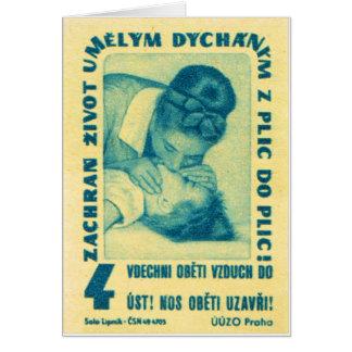 boca del CPR del kitsch del vintage para articular Tarjeta De Felicitación