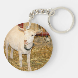 Boca doeling de la cabra de Saanen abierta Llavero Redondo Acrílico A Doble Cara