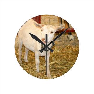 Boca doeling de la cabra de Saanen abierta Relojes De Pared
