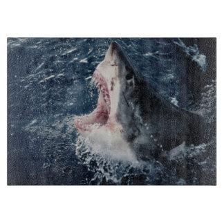 Boca elevada del tiburón abierta tabla para cortar