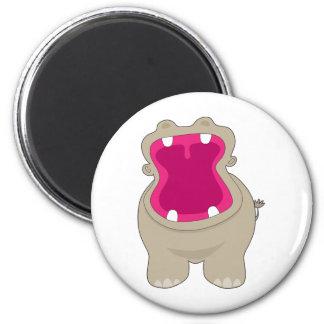 Boca grande del hipopótamo imán redondo 5 cm