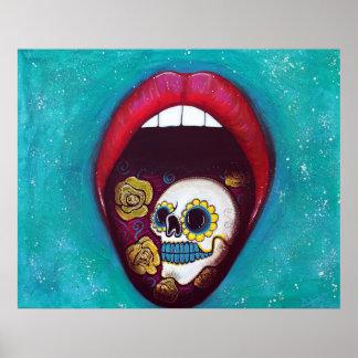 Boca por completo del poster del cráneo del azúcar