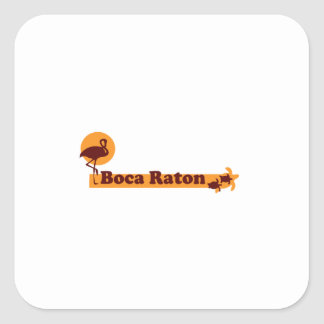 Boca Raton - diseño de la playa Pegatina Cuadrada