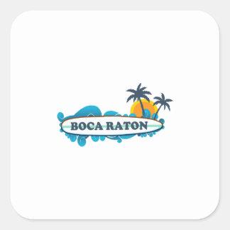 Boca Raton - diseño de la resaca Pegatina Cuadrada