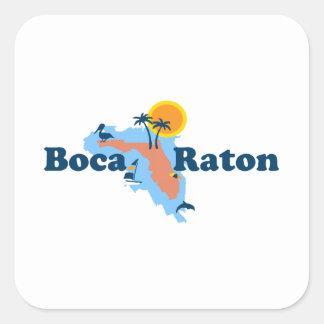 Boca Raton - diseño del mapa Pegatina Cuadrada