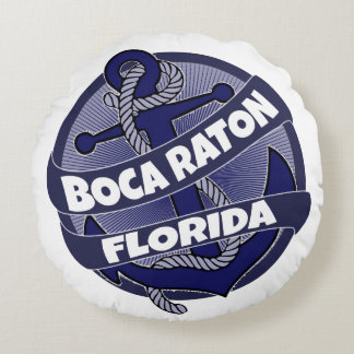 Boca Raton Florida anchor round pillow