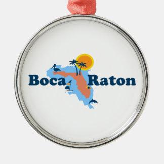 Boca Raton - Map Design. Metal Ornament