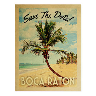 Boca Raton Save The Date Vintage Beach Palm Tree Postcard
