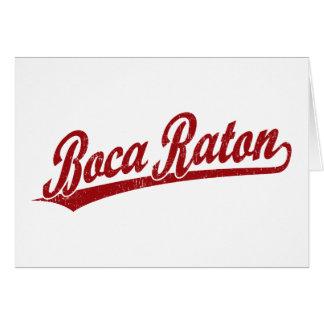 Boca Raton script logo in red Card