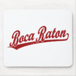 Boca Raton script logo in red Mousepads