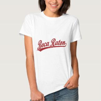Boca Raton script logo in red Shirt