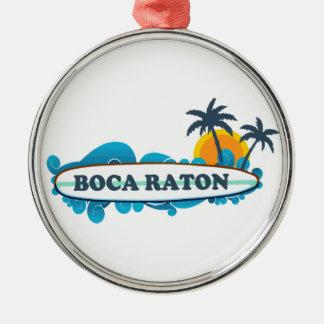 Boca Raton - Surf Design. Metal Ornament