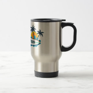 Boca Raton - Surf Design. 15 Oz Stainless Steel Travel Mug