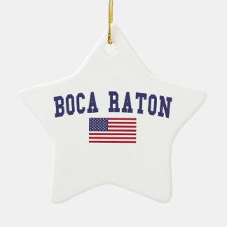 Boca Raton US Flag Ceramic Ornament
