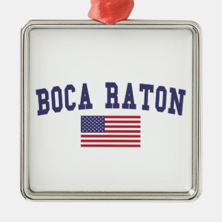 Boca Raton US Flag Metal Ornament