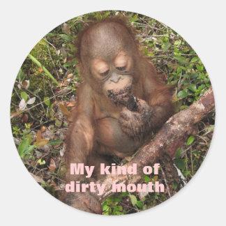 Boca sucia del orangután de George Etiqueta