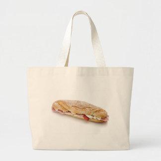bocadillo con el jamón y el queso bolsas lienzo