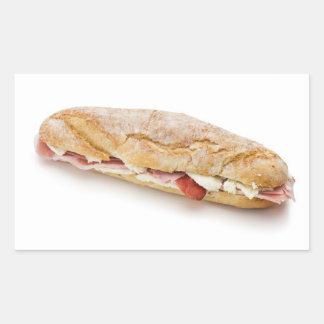 bocadillo con el jamón y el queso pegatina rectangular
