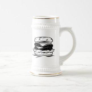 Bocadillo de la hamburguesa jarra de cerveza