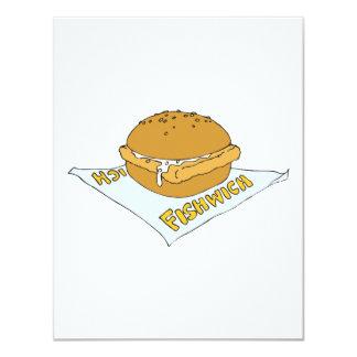 bocadillo del fishwich de los alimentos de invitación 10,8 x 13,9 cm