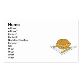 bocadillo del fishwich de los alimentos de tarjetas de visita