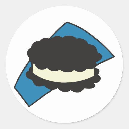 bocadillo del helado de la galleta pegatina redonda
