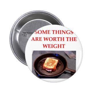 bocadillo del jamón y del queso pin redondo de 2 pulgadas