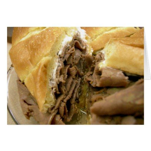 Bocadillo del rosbif con queso de cabra cremoso tarjeta de felicitación