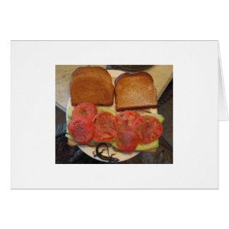 Bocadillo del tomate y del pepino tarjeta de felicitación