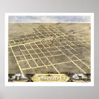 Bocadillo, mapa panorámico de IL - 1869 Póster
