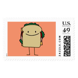 Bocadillo sonriente de las comidas felices sellos postales