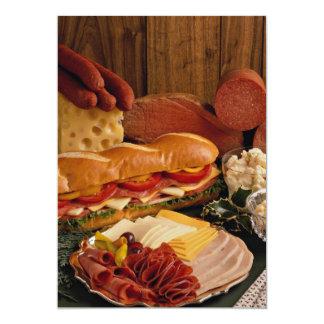 """Bocadillo submarino delicioso con las carnes y el invitación 5"""" x 7"""""""