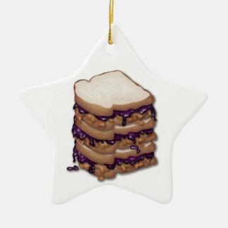 Bocadillos de la mantequilla y de la jalea de adorno navideño de cerámica en forma de estrella
