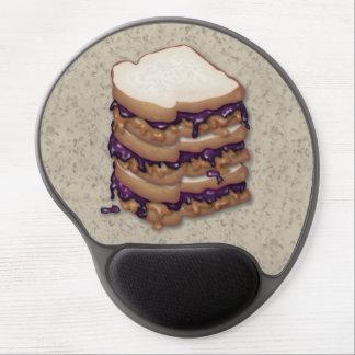 Bocadillos de la mantequilla y de la jalea de caca alfombrillas de raton con gel
