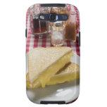 Bocadillos tostados del queso en la placa, vinagre galaxy s3 funda