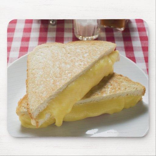 Bocadillos tostados del queso en la placa, vinagre alfombrilla de ratones