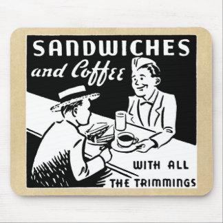 Bocadillos y café alfombrilla de ratones