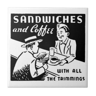 Bocadillos y café azulejo cuadrado pequeño